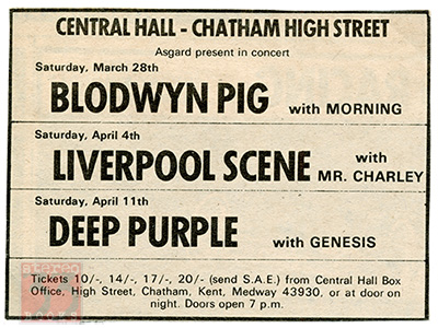 Deep Purple supported by Genesis, 1970